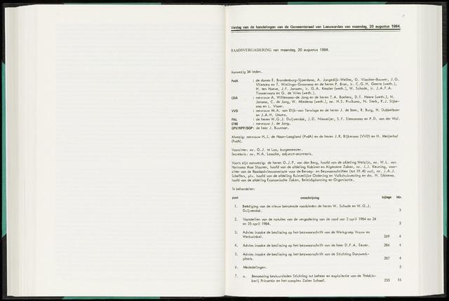Raadsverslagen van de gemeente Leeuwarden, 1865-2007 (Notulen) 1984-08-20