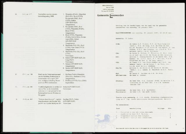 Raadsverslagen van de gemeente Leeuwarden, 1865-2007 (Notulen) 1997