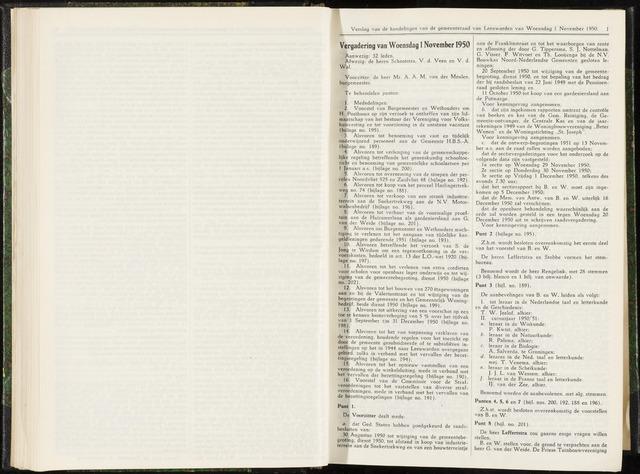 Raadsverslagen van de gemeente Leeuwarden, 1865-2007 (Notulen) 1950-11-01