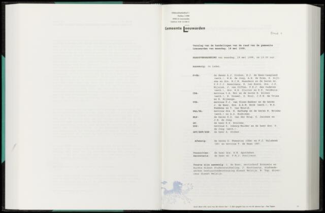 Raadsverslagen van de gemeente Leeuwarden, 1865-2007 (Notulen) 1998-05-18