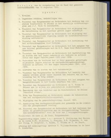 Notulen van de gemeenteraad van Leeuwarderadeel 1960-08-18