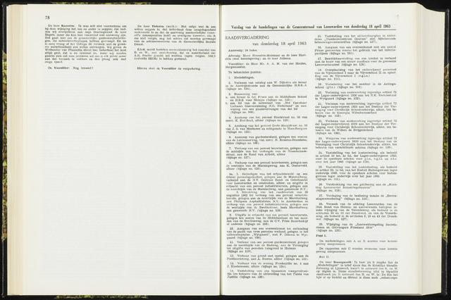 Raadsverslagen van de gemeente Leeuwarden, 1865-2007 (Notulen) 1963-04-18