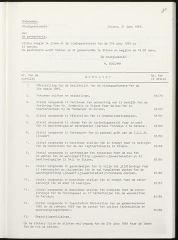 Notulen van de gemeenteraad van Leeuwarderadeel 1985-06-27