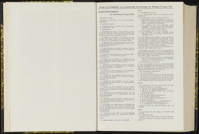 Raadsverslagen van de gemeente Leeuwarden, 1865-2007 (Notulen) 1954-01-27