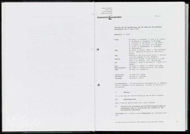 Raadsverslagen van de gemeente Leeuwarden, 1865-2007 (Notulen) 2006-04-11