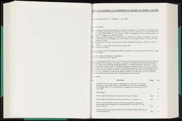 Raadsverslagen van de gemeente Leeuwarden, 1865-2007 (Notulen) 1981-06-01