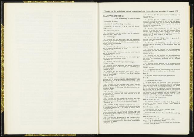 Raadsverslagen van de gemeente Leeuwarden, 1865-2007 (Notulen) 1959-01-28