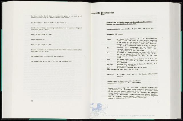 Raadsverslagen van de gemeente Leeuwarden, 1865-2007 (Notulen) 1995-06-06