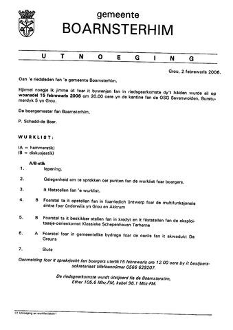 Boarnsterhim vergaderstukken gemeenteraad  2006-02-15
