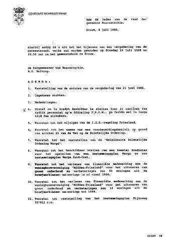 Boarnsterhim vergaderstukken gemeenteraad  1988-07-19