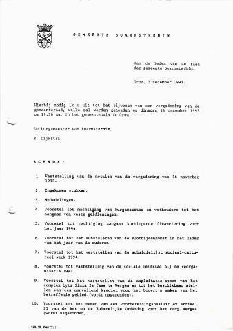 Boarnsterhim vergaderstukken gemeenteraad  1993-12-14