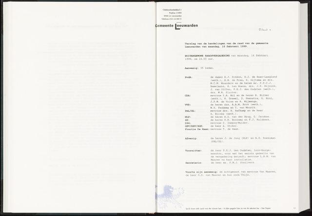 Raadsverslagen van de gemeente Leeuwarden, 1865-2007 (Notulen) 1999-02-16