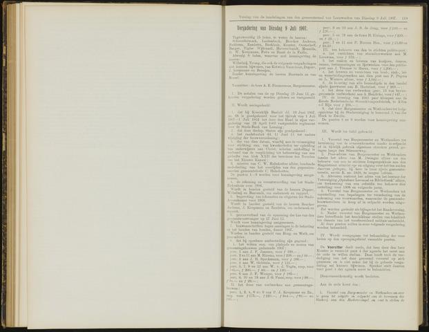 Raadsverslagen van de gemeente Leeuwarden, 1865-2007 (Notulen) 1907-07-09