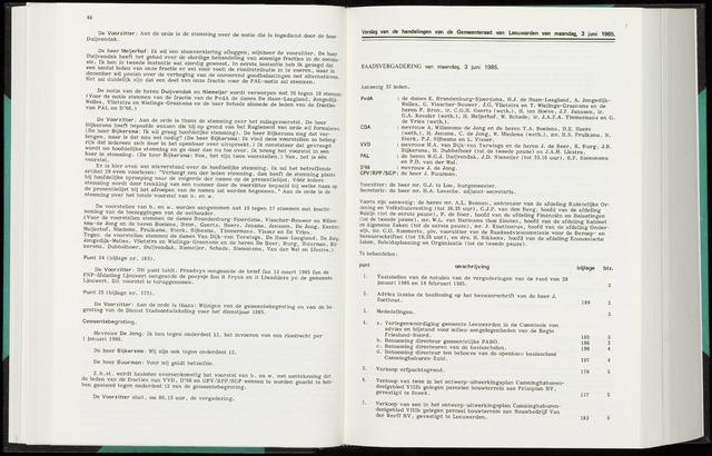 Raadsverslagen van de gemeente Leeuwarden, 1865-2007 (Notulen) 1985-06-03