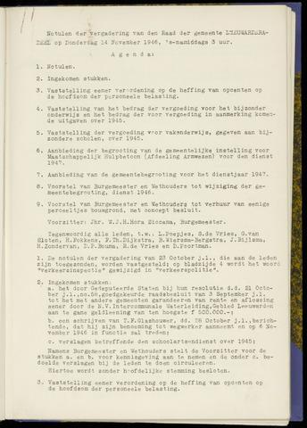 Notulen van de gemeenteraad van Leeuwarderadeel 1946-11-14