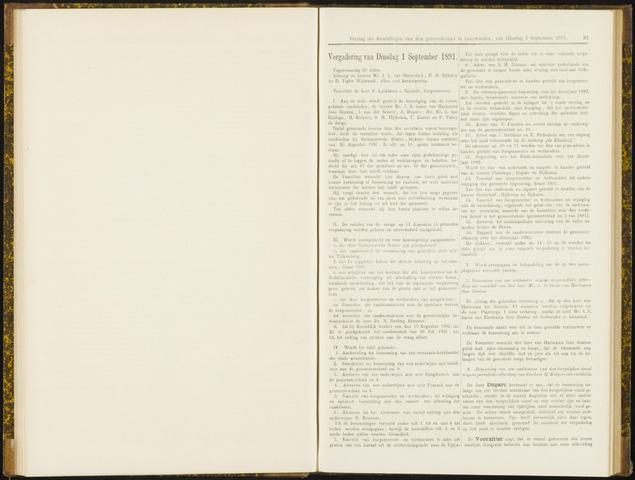 Raadsverslagen van de gemeente Leeuwarden, 1865-2007 (Notulen) 1891-09-01