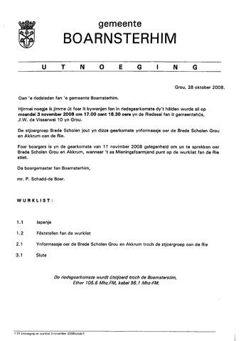 Boarnsterhim vergaderstukken gemeenteraad  2008-11-03
