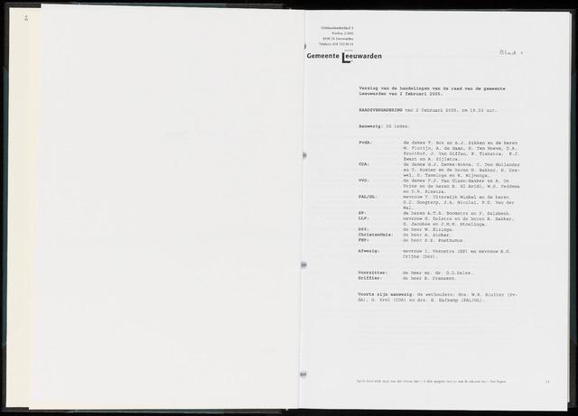 Raadsverslagen van de gemeente Leeuwarden, 1865-2007 (Notulen) 2005-02-02
