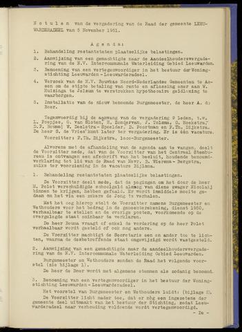 Notulen van de gemeenteraad van Leeuwarderadeel 1951-11-05