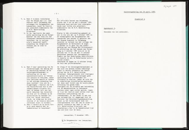Raadsverslagen van de gemeente Leeuwarden, 1865-2007 (Bijlagen) 1986-01-01