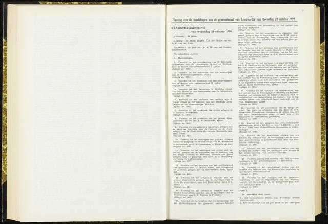 Raadsverslagen van de gemeente Leeuwarden, 1865-2007 (Notulen) 1959-10-28