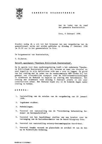 Boarnsterhim vergaderstukken gemeenteraad  1998-02-17