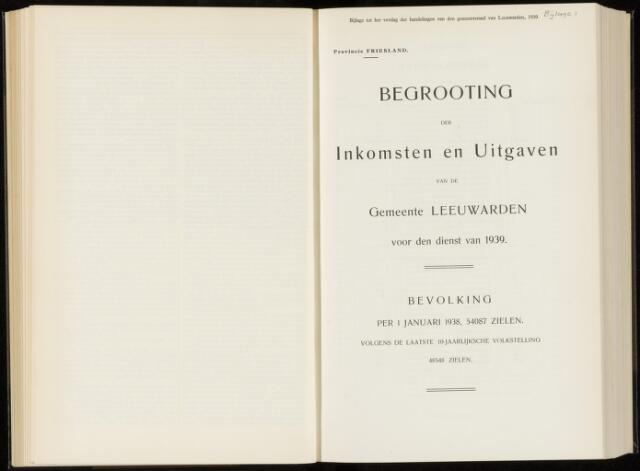 Raadsverslagen van de gemeente Leeuwarden, 1865-2007 (Bijlagen) 1939-01-01