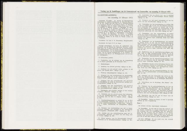 Raadsverslagen van de gemeente Leeuwarden, 1865-2007 (Notulen) 1972-02-21