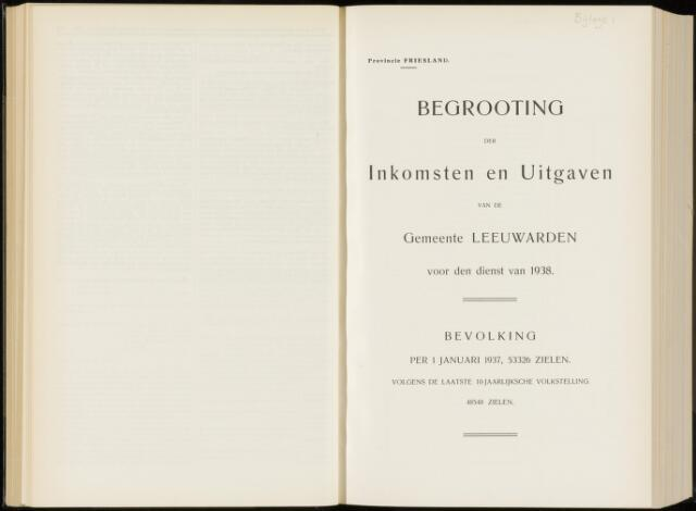 Raadsverslagen van de gemeente Leeuwarden, 1865-2007 (Bijlagen) 1938-01-01