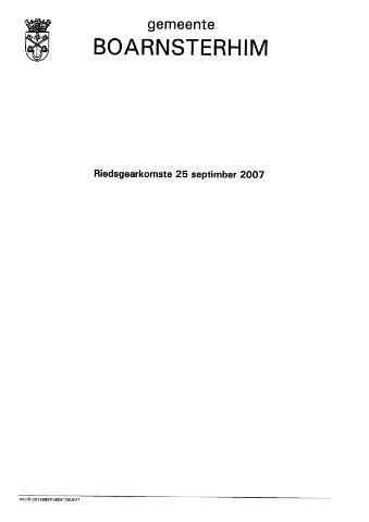 Boarnsterhim vergaderstukken gemeenteraad  2007-09-25