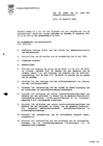 Boarnsterhim vergaderstukken gemeenteraad  1991-08-27