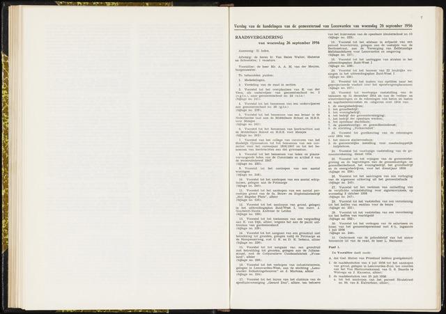 Raadsverslagen van de gemeente Leeuwarden, 1865-2007 (Notulen) 1956-09-26