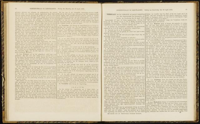 Raadsverslagen van de gemeente Leeuwarden, 1865-2007 (Notulen) 1868-04-23