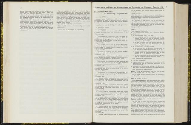 Raadsverslagen van de gemeente Leeuwarden, 1865-2007 (Notulen) 1954-08-04