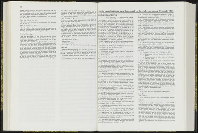 Raadsverslagen van de gemeente Leeuwarden, 1865-2007 (Notulen) 1969-09-22