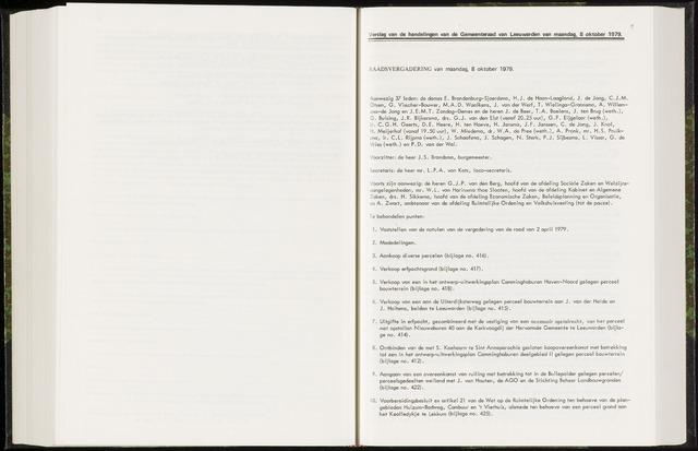 Raadsverslagen van de gemeente Leeuwarden, 1865-2007 (Notulen) 1979-10-08
