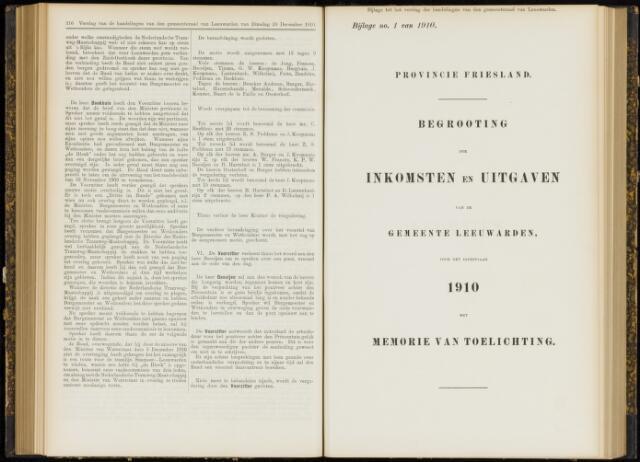 Raadsverslagen van de gemeente Leeuwarden, 1865-2007 (Bijlagen) 1910-01-01