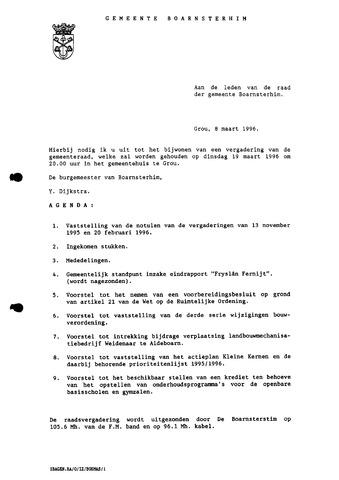 Boarnsterhim vergaderstukken gemeenteraad  1996-03-19
