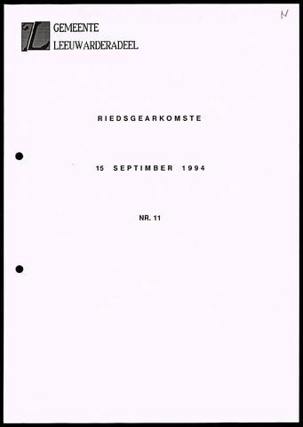 Notulen van de gemeenteraad van Leeuwarderadeel 1994-09-15