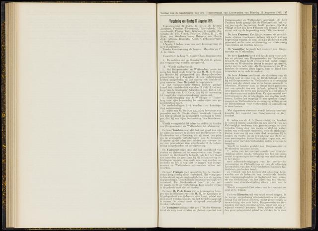 Raadsverslagen van de gemeente Leeuwarden, 1865-2007 (Notulen) 1915-08-17