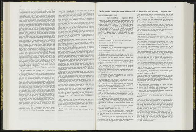 Raadsverslagen van de gemeente Leeuwarden, 1865-2007 (Notulen) 1969-08-11