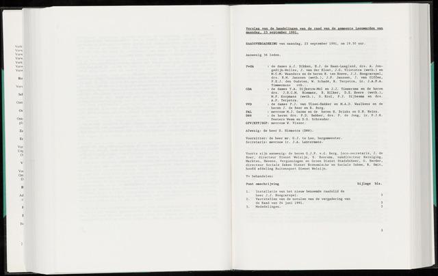 Raadsverslagen van de gemeente Leeuwarden, 1865-2007 (Notulen) 1991-09-23