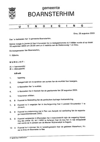 Boarnsterhim vergaderstukken gemeenteraad  2003-09-16