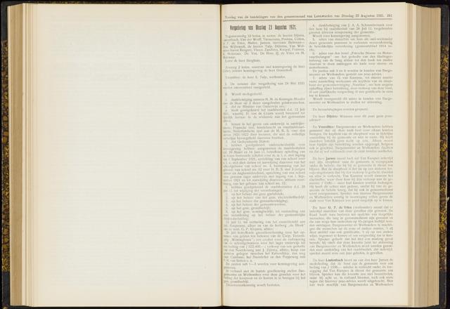 Raadsverslagen van de gemeente Leeuwarden, 1865-2007 (Notulen) 1921-08-23