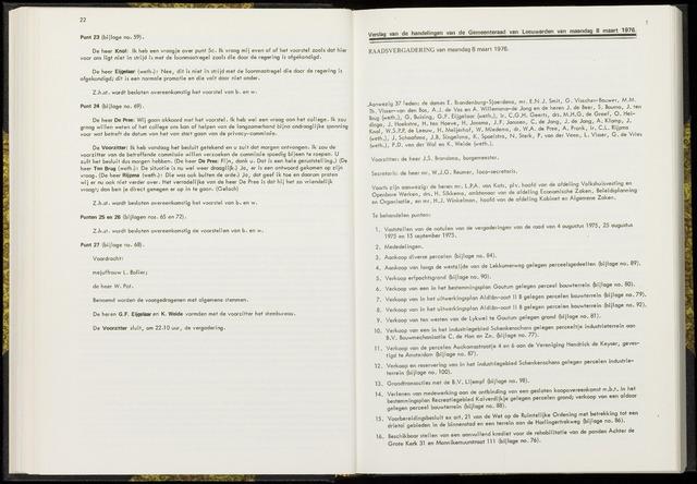 Raadsverslagen van de gemeente Leeuwarden, 1865-2007 (Notulen) 1976-03-08