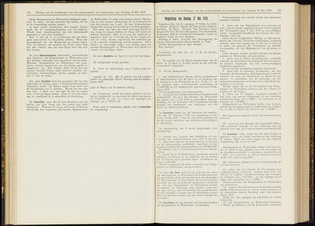 Raadsverslagen van de gemeente Leeuwarden, 1865-2007 (Notulen) 1919-05-27