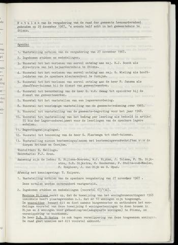 Notulen van de gemeenteraad van Leeuwarderadeel 1967-12-29