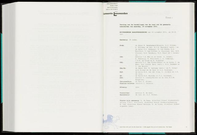 Raadsverslagen van de gemeente Leeuwarden, 1865-2007 (Notulen) 2001-11-29