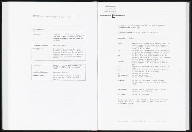 Raadsverslagen van de gemeente Leeuwarden, 1865-2007 (Notulen) 2004-06-07