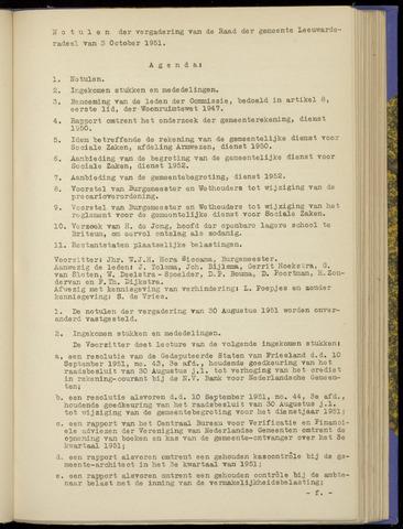Notulen van de gemeenteraad van Leeuwarderadeel 1951-10-03